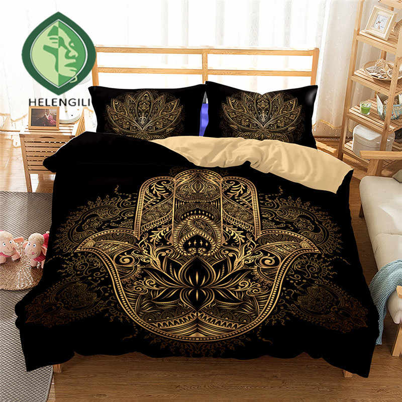 HELENGILI 3D Bedding Set Hamsa Hand Print Duvet cover lifelike bedclothes with pillowcase home Textiles #2-04