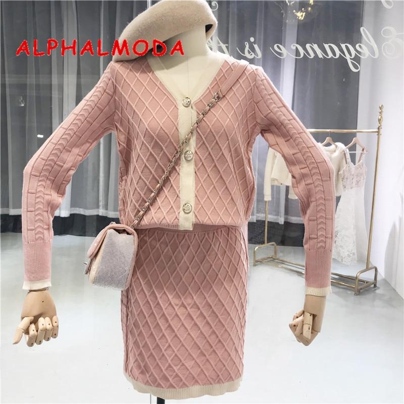 042d438b2d6 ALPHALMODA Осень Новый однобортный V воротник Длинные рукава вязаный  кардиган + Высокая талия юбка для женщин