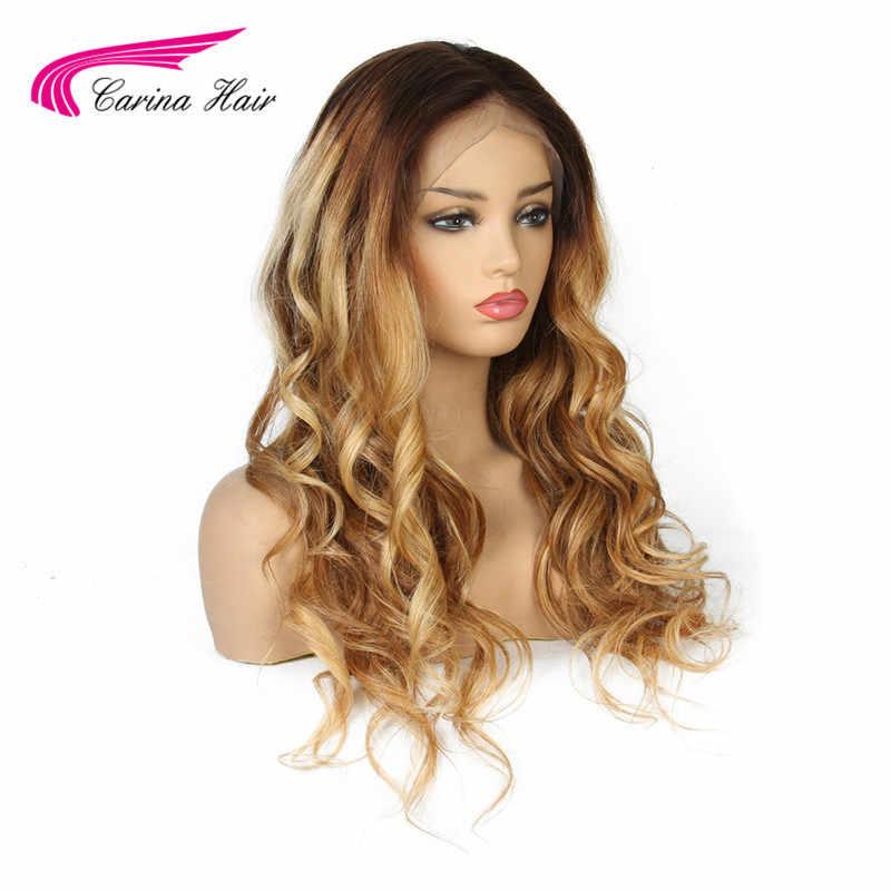 Carina #4/30/27 Синтетические волосы на кружеве человеческих волос парики с детскими волосами эффектом деграде (переход от темного к 3 цвета бразильский Волосы remy объемная волна предварительно выщипанные волосы