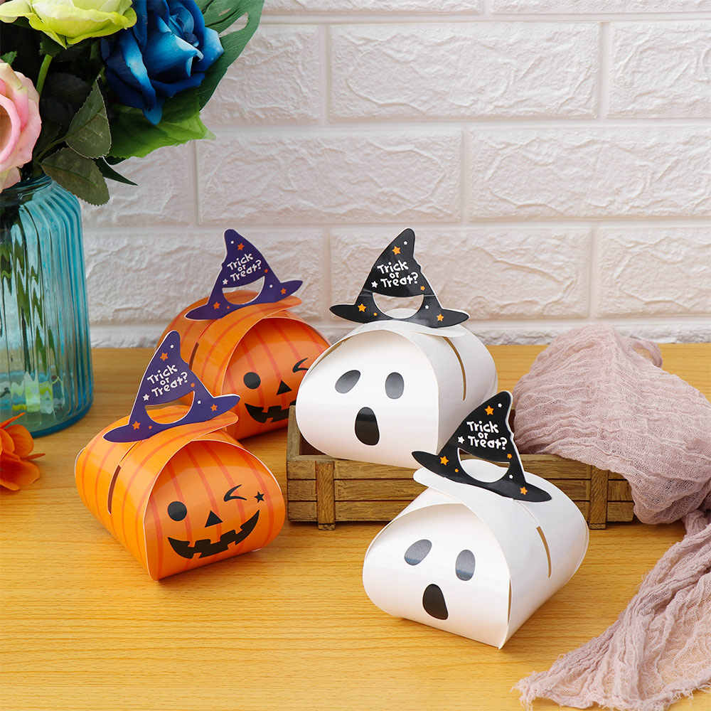 5/10 PCS Happy Halloween Pumpkin Ghost Cake Candy Box Gift Bag Favour Party Supplies  Paper Candy Boxes Home Decoration