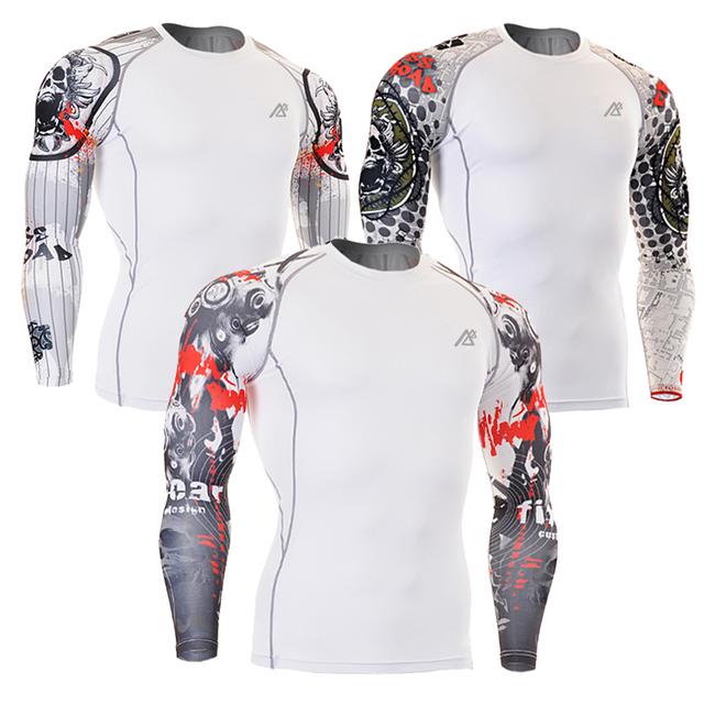 Homens Camisas De Compressão MMA Rashguard Keep Fit Fitness Mangas Longas Da Pele Camada de Base Apertado Elásticas de Levantamento de Peso Dos Homens T Camisas
