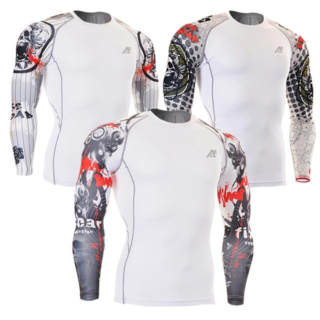 Men Compression Shirts MMA Rashguard Keep Fit Fitness Long Sleeves Base Layer Skin Tight Weight Lifting Elastic Mens T Shirts