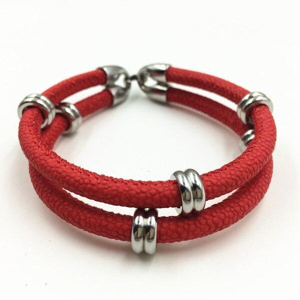 2017 Fashion Red Stingray Bracelets Exclusive Men Women Bracelet Leather Handmade Brancelet In Charm From