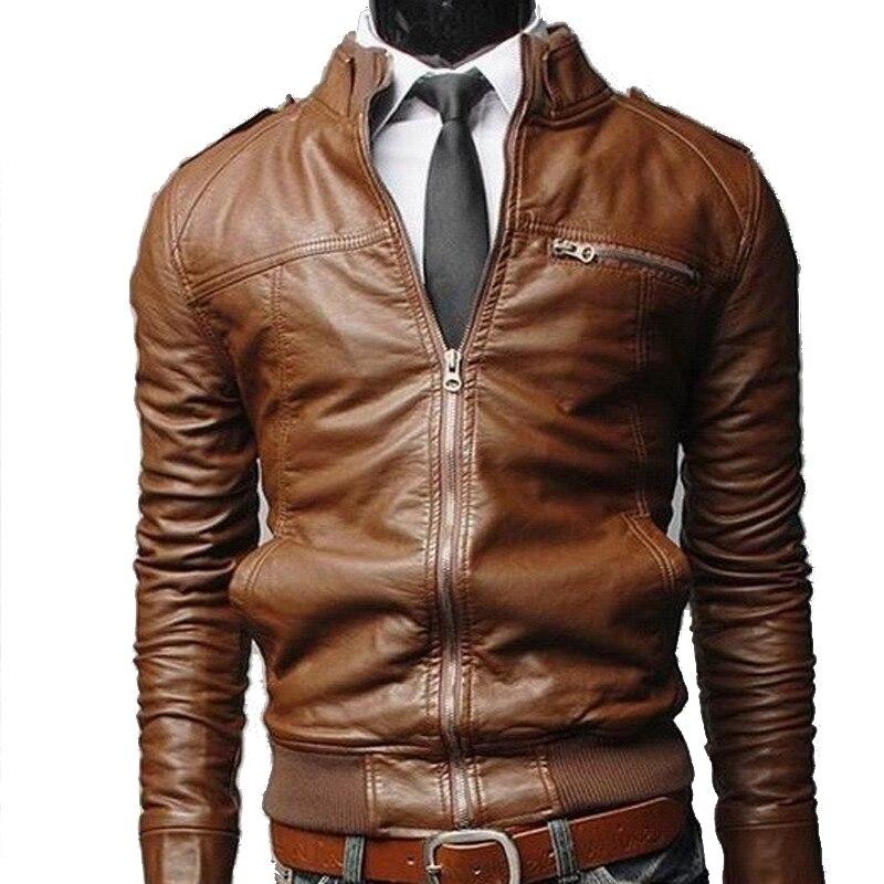 Cuir Veste Taille Mince Hommes Jacke Pu De dark 2017 Vêtements Brown Col Nouveau Grande Noir Qualité light 3xl Montant Haute Brown En Automne Moto Souple IqwUq0xpX