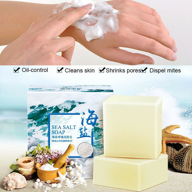 Sea Salt Ba Anti Fungus Skin Bath Body Whitening Lightening Acne Treatment Soap Acne Treatment Pimple Clean 100g 2
