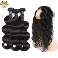 King Hair Human Hair 3 Bundles with Closure Brazilian Body Wave Hair with 360 Frontal Closure Pre Plucked Double Weft Remy Hair