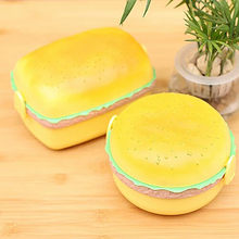 New Cute Hamburger Double Tier Lunch Box Burger Box Bento Lunchbox Children School Food Container Tableware Set with Fork Kids(China)