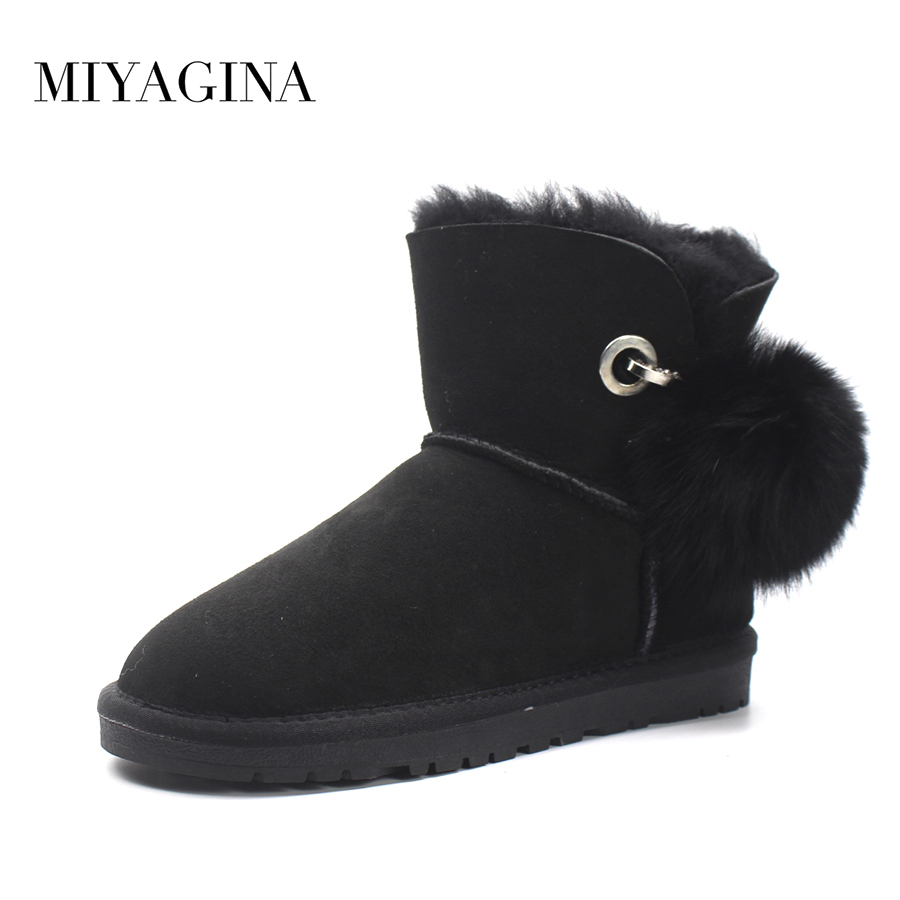 2018 New Fashion Women Snow Boots Real Wool Winter Warm Boots Genuine Sheepskin Leather Natural Fur Non-Slip Women Boots