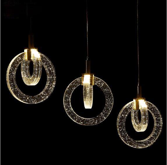 K9 cristal annulaire air bulle pendentif lumières 90-260 V pendentif lampes LED originalité cristal pendentif lampe K9 cristal Restaurant
