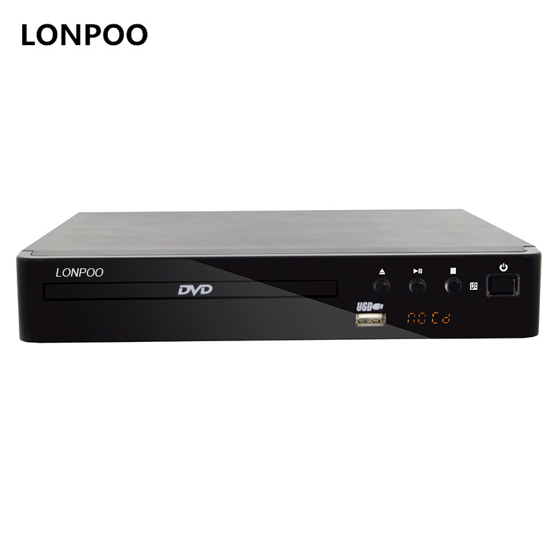 LONPOO Mini USB RCA HDMI DVD Player Wilayah Gratis Beberapa Bahasa OSD DIVX DVD CD RW Player LED Display Player DVD MP3