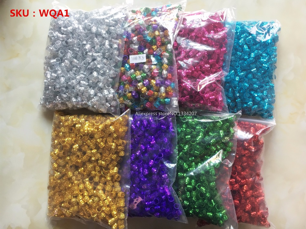 1000Pcs/Lot Golden/Silver/Multicolour hair dread Braids dreadlock Beads adjustable cuffs clips Micro Rings Accessories wholesale-in Links, Rings & Tubes from Hair Extensions & Wigs