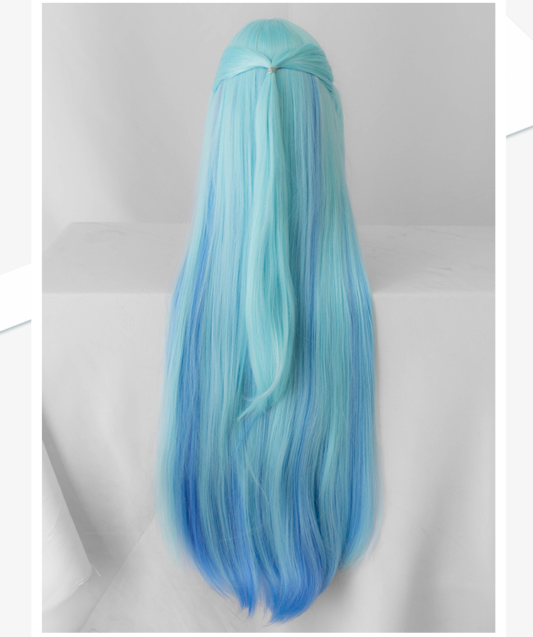 Image 3 - Biamoxer KonoSuba God&#39s Blessing on This Wonderful World ! Cosplay Wigs KonoSuba Aqua Blue Long Straight Synthetic Hair Adult-in Game Costumes from Novelty & Special Use