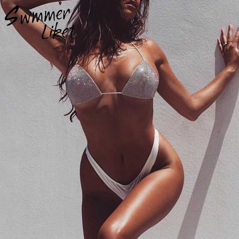 94283cfd5ec3b Halter triangle bathing suit women Shimmer bikini set High cut white swimsuit  female String sexy swimwear