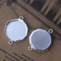 15mm 100pcs Silver Color Crown Blank Pendant Trays Bases Cameo Cabochon Setting For Glass Stickers