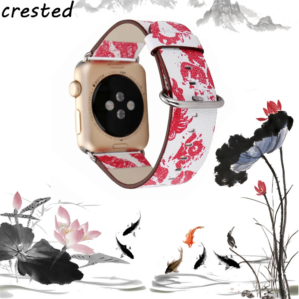 CRESTED Leather Watch Band Strap for Apple Watch band 42 mm/38mm iwatch 3 2 1 Floral Printed Flower Design Wrist Watch Bracelet цена