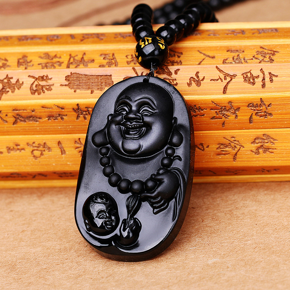 Black Obsidian Pendant Necklace Obsidian Rongde Pendant Lucky Love Carved Crystal Jewelry With Free Rope Father Boyfriend Gifts