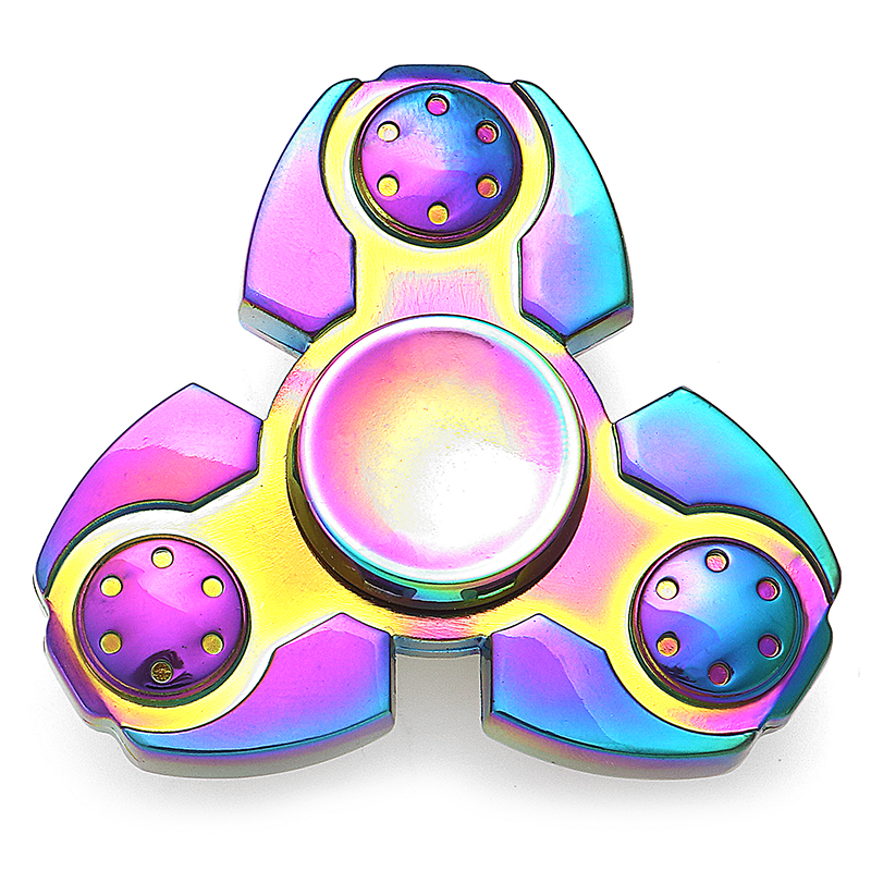 Colorful Rainbow Shape Tri Spinner Rotating Fidget Hand Spinning Reduce Stress Fingertips Fingers Gyro Children Adult Toys ...