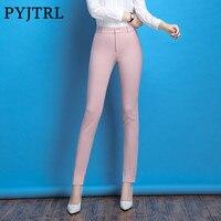 PYJTRL Marque Dames de Bureau Automne Hiver Rose Noir Violet Slim Fit L'occupation Loisirs Pantalon Taille Haute Crayon Pantalon