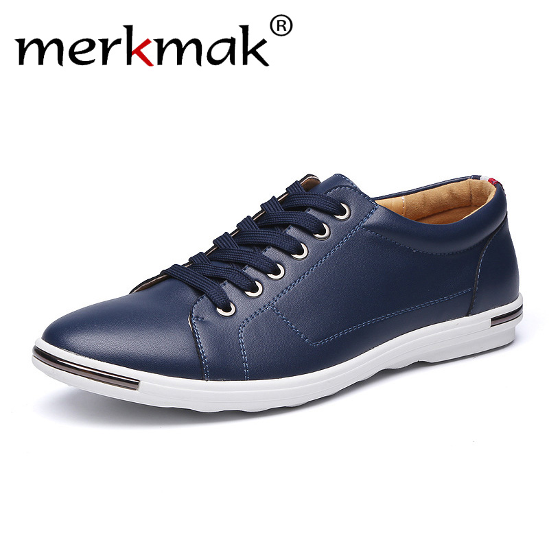Merkmak Plus Size 48 Men Leather Casual Shoes Brand Flats Fashion Male White Summer Footwear Comfortable Men Casual Shoes