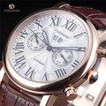 FORSINING уникальные винтажные мужские автоматические часы с ремешком из натуральной кожи  римские деловые часы  мужские часы от ведущего бренд...