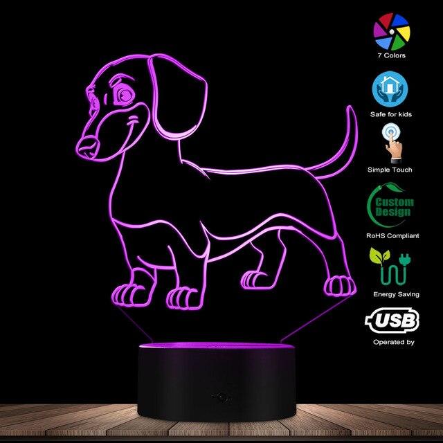 소시지 개 닥스 훈트 키드 룸 나이트 라이트 테이블 램프 위너 개 애완 동물 강아지 빛나는 LED 착시 램프 장식 조명