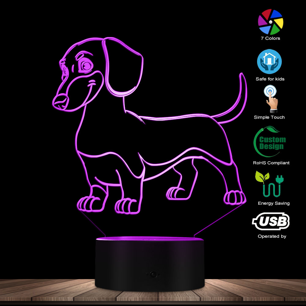 2edc35ea1e Perro salchicha Dachshund chico habitación de la lámpara de mesa de luz de  noche de salchicha perro mascota cachorro LED brillante Lámpara decorativa  ...