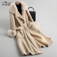 Натуральный мех пальто шерстяной жакет Для женщин зима Настоящий Лисий меховой воротник длинное пальто женская одежда 2018 теплое пальто зам