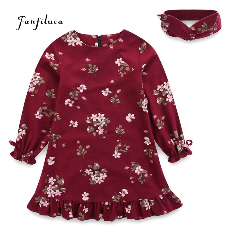 Flower Baby <font><b>Clothes</b></font> Long Sleeve Cotton Girls Dresses Headwear Kids <font><b>Clothes</b></font> for Girls 10 <font><b>11</b></font> 12 <font><b>Years</b></font> <font><b>Old</b></font> Children's tracksuit image