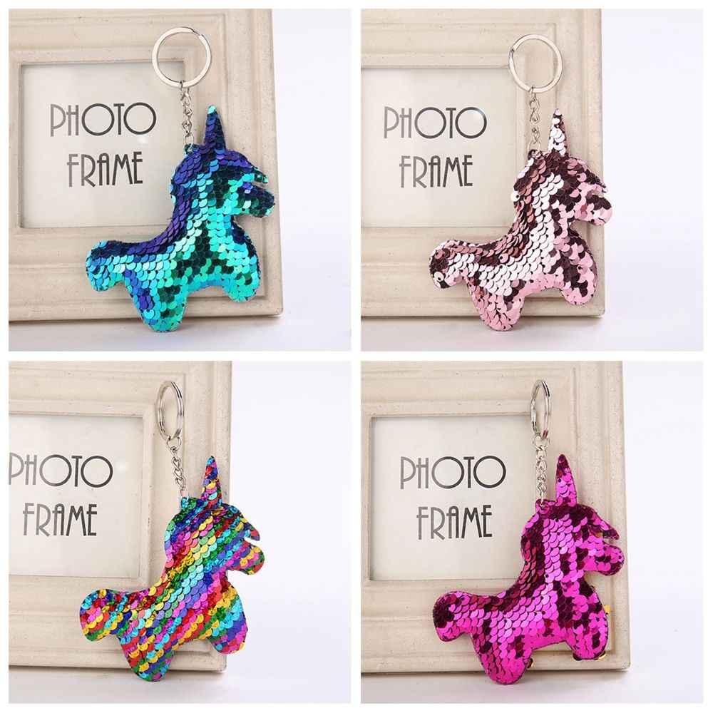 1 PC เลื่อมโลหะผสม Unicorn Horn Key Chain กระเป๋าถือกระเป๋าจี้ Keyring แฟชั่นรูปแบบม้ากระเป๋าอุปกรณ์เสริมสำหรับสุภาพสตรี