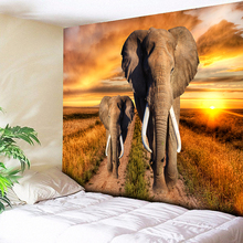 Orange Dazzling Sunshine Elephant Tapestry Wall Hanging Indian Tribal Home Decor Big Hippie Blanket Art Carpet Beach Throw