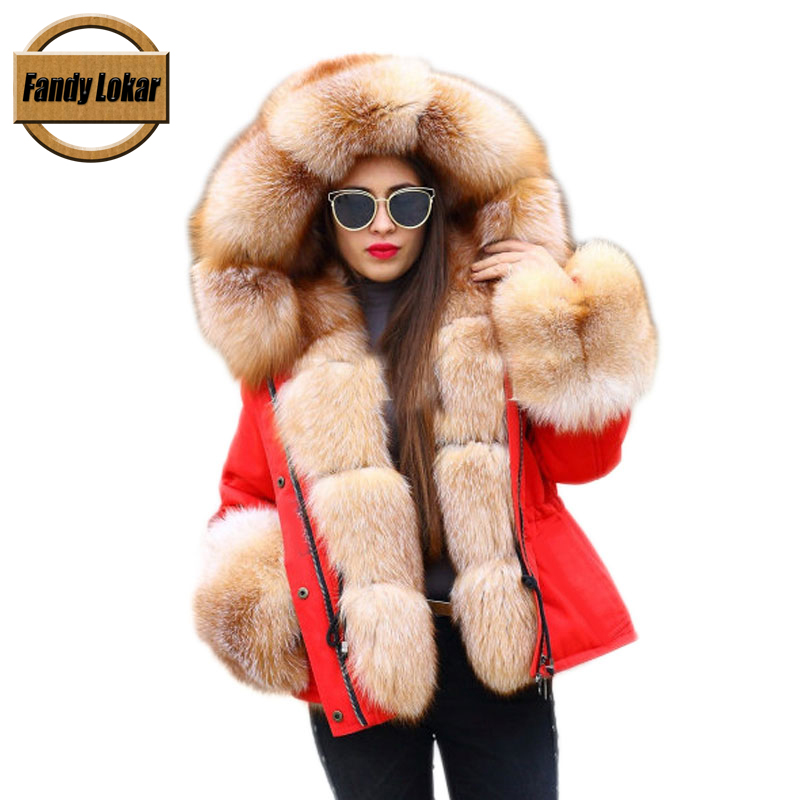 Fandy Lokar FL Winter Women Jacket Fur Parka Fashion Real Fox With Genuine Rabbit Lining Warm Coats Female Ladies