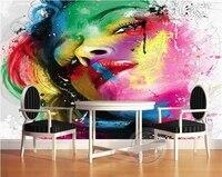 3D 벽지/사용자 정의 사진 벽 종이/팝 컬러 여성 아바