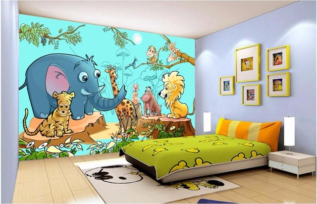 3d room wallpaper custom photo Cartoon forest zoo animals ...