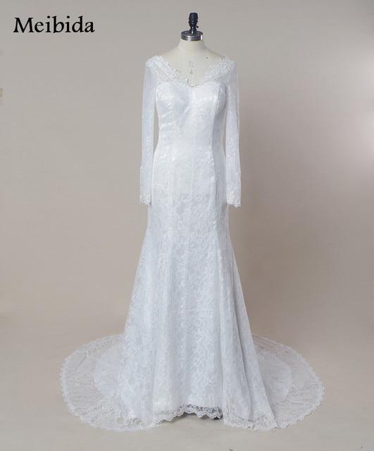 Vintage Boho Hochzeitskleid 2016 Volle Spitze V ausschnitt Lange ...