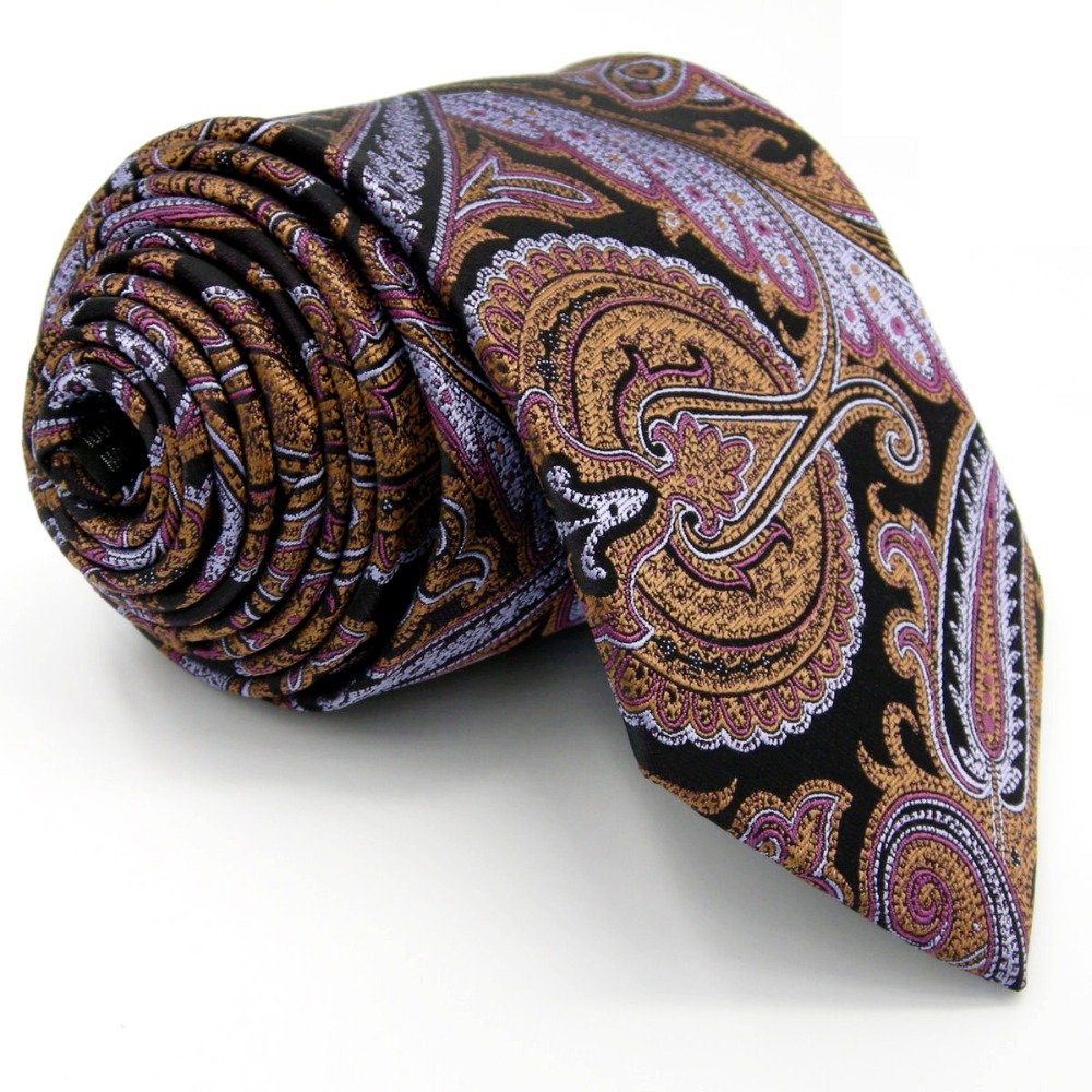 Y8 purple Floral Pattern Silk Handmade Fashion Brand New Mens Ties Necktie Hanky Extra Long Size 63