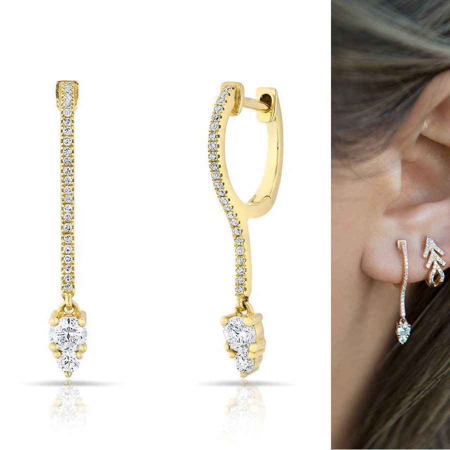high quality brass fashion cz jewelry dazzling tear drop bridal gift delicate bar Clear cubic zirconia shiny earring