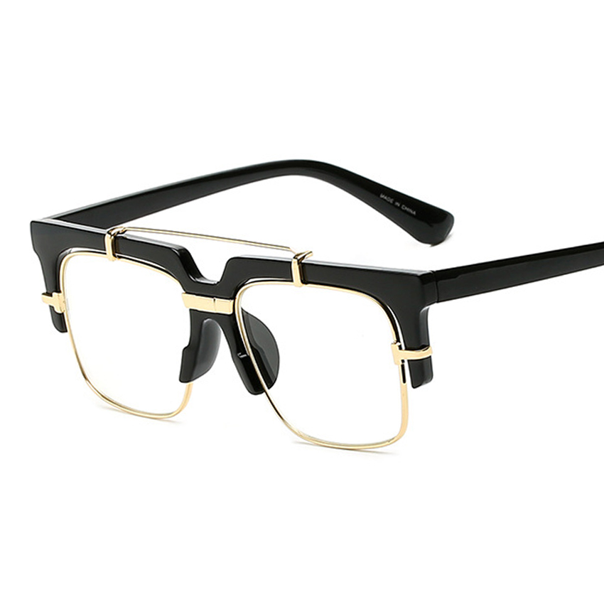 ⑧New Fashion Half Frame Eyeglasses Women Matte Square Glasses ...