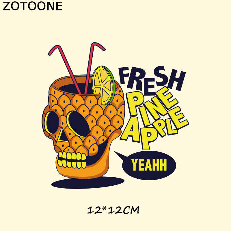 Zotoone Punk Tengkorak Patch untuk Pakaian Besi Pada Transfer Patch T-shirt Gaun Sweater Tas DIY Aksesori Dekorasi untuk Anak-anak E