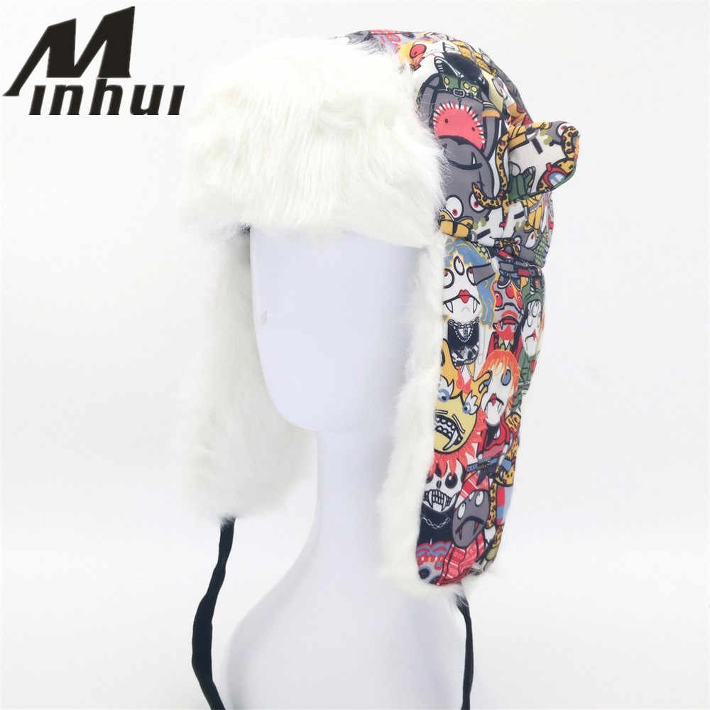 Minhui Children s Hat Winter Warm Earflap Keep Bomber Hat Caps for Boys and  Girls Cute Cartoon e5dd3760951f