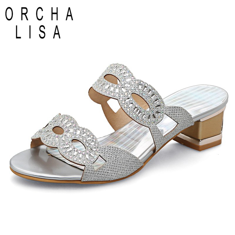 ORCHA LISA Women summer Fashion Rhinestone Slipper Sexy Hollow out Chunky  High heels Sandals Crystal Party 93c0882e87de