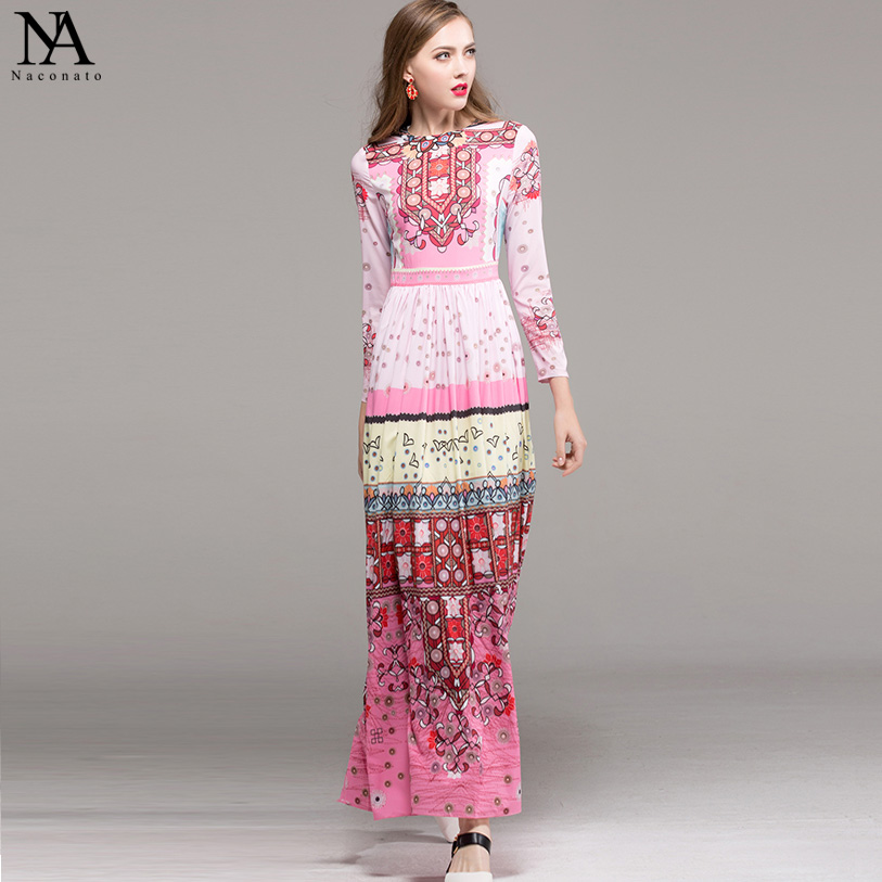 New Arrival 2019 Women s O Neck Long Sleeves Beaded Printed Ruched Elegant High Street Maxi