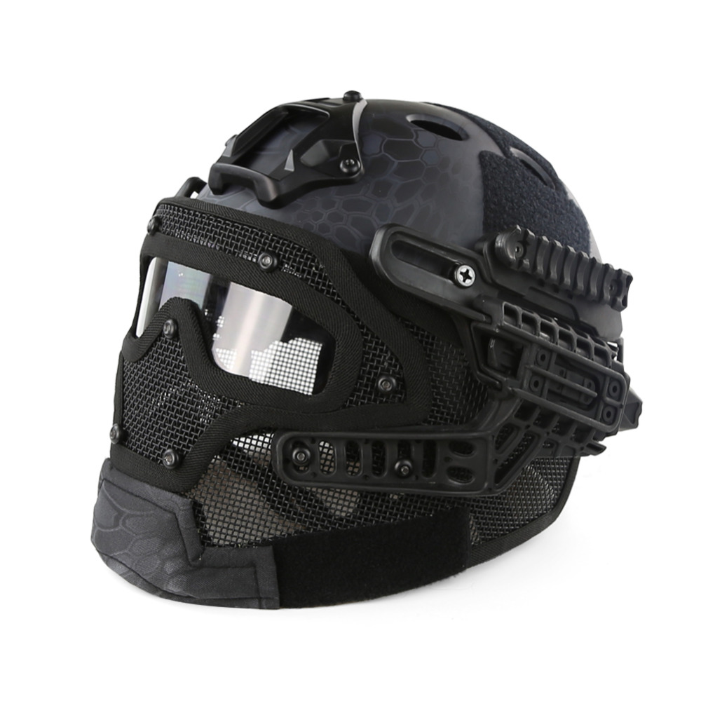 Desert Kryptek Black PJ Type FAST Molle Tactical Helmet Combined With Full Mask and Goggles for Airsoft Paintball CS Hunting kryptek green pj type fast molle tactical helmet combined with full mask and goggles for airsoft paintball cs hunting