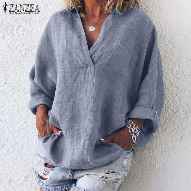 ZANZEA/Осенняя рубашка с длинными рукавами для женщин, элегантная летняя блузка с v-образным вырезом, Повседневная Туника с отворотом, топы, Femme Chemise, свободная, рабочая, однотонная, Blusas