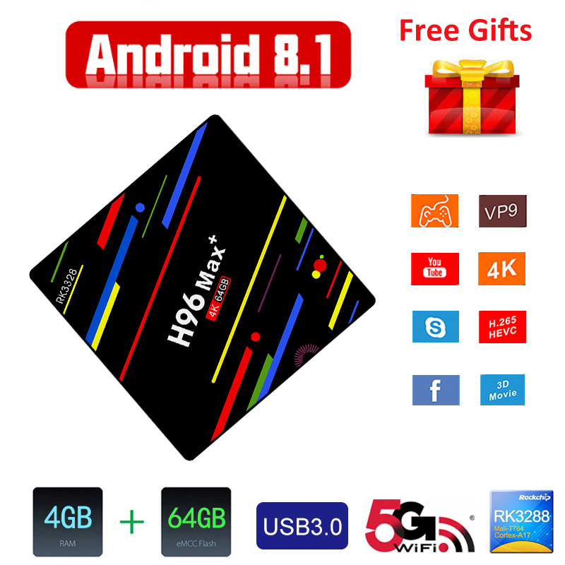 H96 MAX+ TV Box RK3328 Android 8.1 4GB RAM 32GB 64GB ROM 2.4G WiFi 100Mbps Support 4K H.265 Smart Andriod BOX