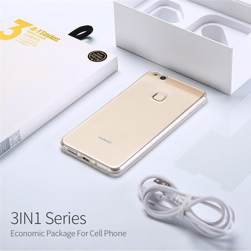 Huawei P10 P9 P8 Lite Cas Tpu Couverture Souple Mate 9 Type C câble + Verre Trempé + Téléphone Cas Accessoire Honneur 9 8 Lite 6X Coque