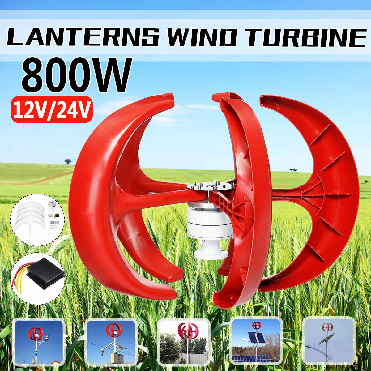 800W Vertical Axis Wind Turbines Generator Lantern 5 Blades 12V 24V Motor Kit Electromagnetic For Home Hybrid Streetlight Use800W Vertical Axis Wind Turbines Generator Lantern 5 Blades 12V 24V Motor Kit Electromagnetic For Home Hybrid Streetlight Use