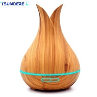 TSUNDERE L 400ML Ultrasonic Air Humidifier Aroma Essential Oil Diffuser With Wood Grain 7 Color Changing