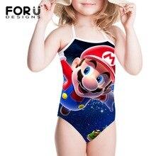 FORUDESIGNS Super Mario Printed Games Children Swimsuit for Girls Swimming Cute Swim Suit One Piece Kids Swimwear Bathing Suits