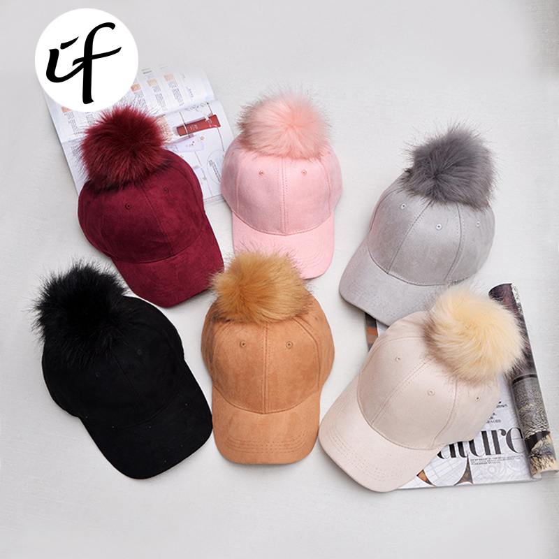 illfly Fashion Polyester Fur Pompoms Hats Hip Hop Leather Baseball Cap women Girls Fur Autumn Winter Warm Snapback Hat Female