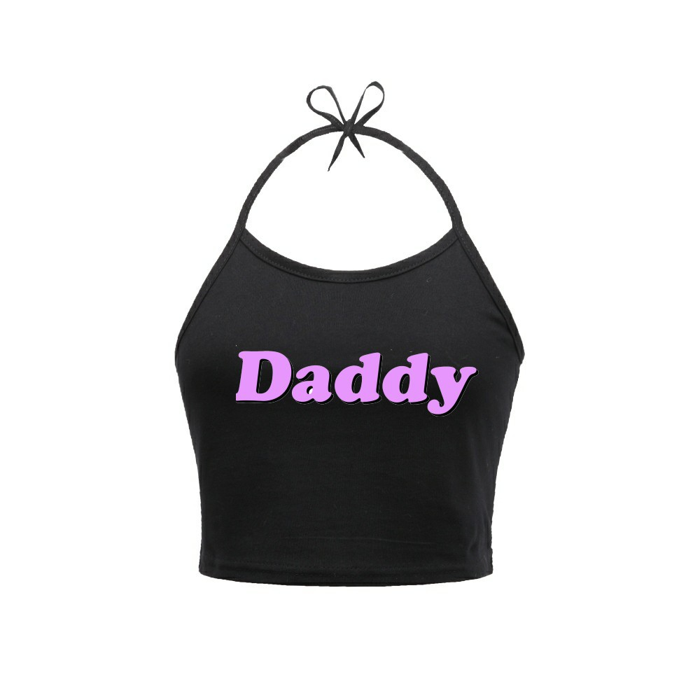 daddy letter women halter top off shoulder cropped tee tshirt
